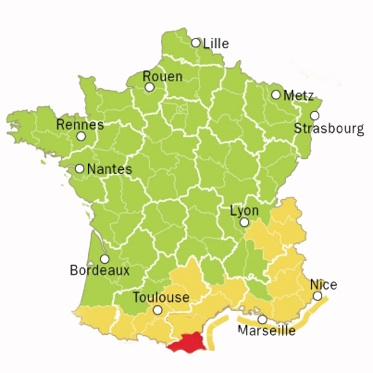 carte montauriol Pyrénées orientales